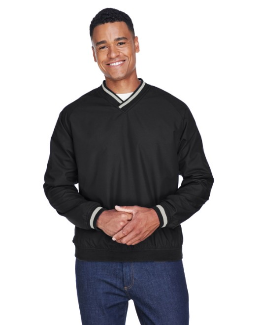 Picture of UltraClub 8926 Adult Long-Sleeve Microfiber Crossover V-Neck Wind Shirt