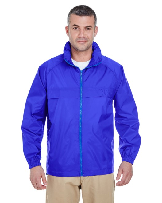Picture of UltraClub 8929 Adult Full-Zip Hooded Pack-Away Jacket