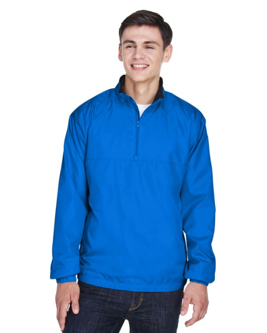 Picture of UltraClub 8936 Adult Micro-Poly Quarter-Zip Wind Shirt