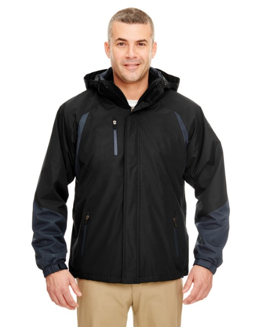 Picture of UltraClub 8939 Adult Colorblock 3-in-1 Systems Hooded Jacket