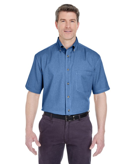 Picture of UltraClub 8965 Adult Cypress Short-Sleeve Denim with Pocket
