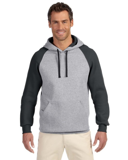 Picture of Jerzees 96CR Adult 8 oz. NuBlend Colorblock Raglan Pullover Hood