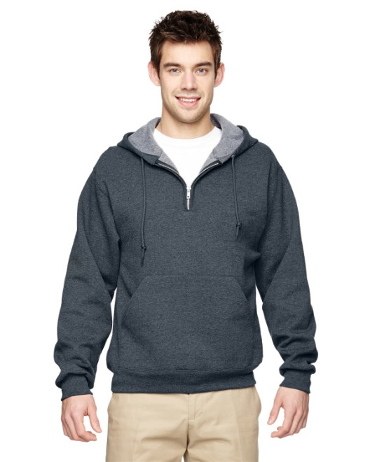 Picture of Jerzees 994MR Adult 8 oz. NuBlend Fleece Quarter-Zip Pullover Hood