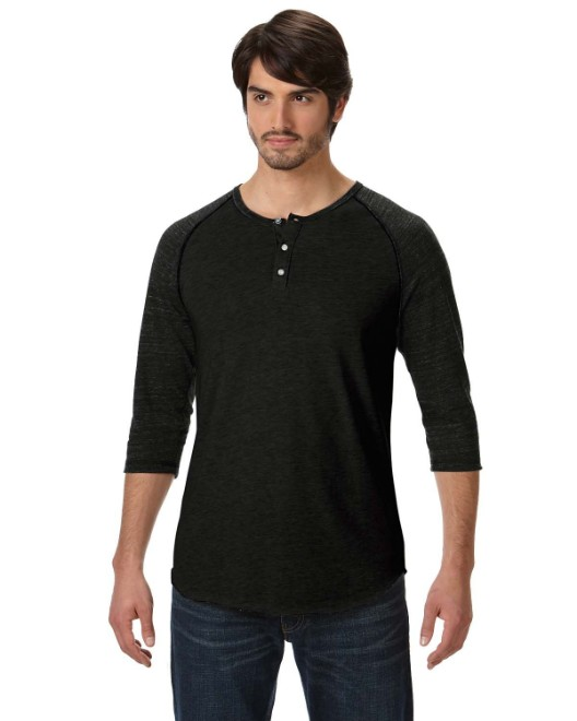 Picture of Alternative AA1989 Men's Eco-Jersey 3/4-SleeveRaglan Henley