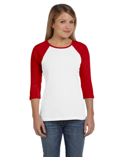Picture of Bella + Canvas B2000 Womens Baby Rib 3/4-Sleeve Contrast Raglan T-Shirt