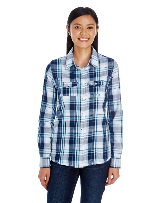 Picture of Burnside B5222 Womens Long-Sleeve Plaid Pattern Woven Shirt