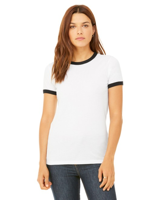 Picture of Bella + Canvas B6050 Womens Jersey Short-Sleeve Ringer T-Shirt