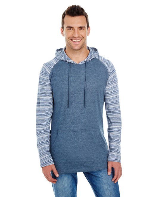 Picture of Burnside B8127 Adult Raglan Sleeve Striped Jersey Hooded T-Shirt