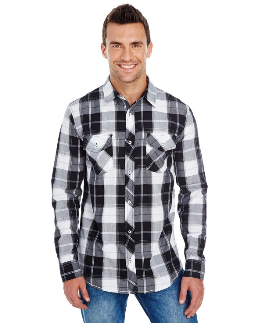 Picture of Burnside B8202 Men's Long-Sleeve Plaid Pattern Woven Shirt