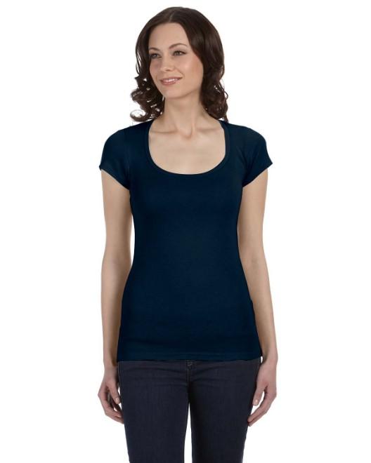 Picture of Bella + Canvas B8703 Womens Sheer Mini Rib Short-Sleeve Scoop Neck T-Shirt