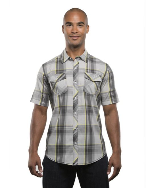 Picture of Burnside B9202 Men's Short-Sleeve Plaid Pattern Woven Shirt