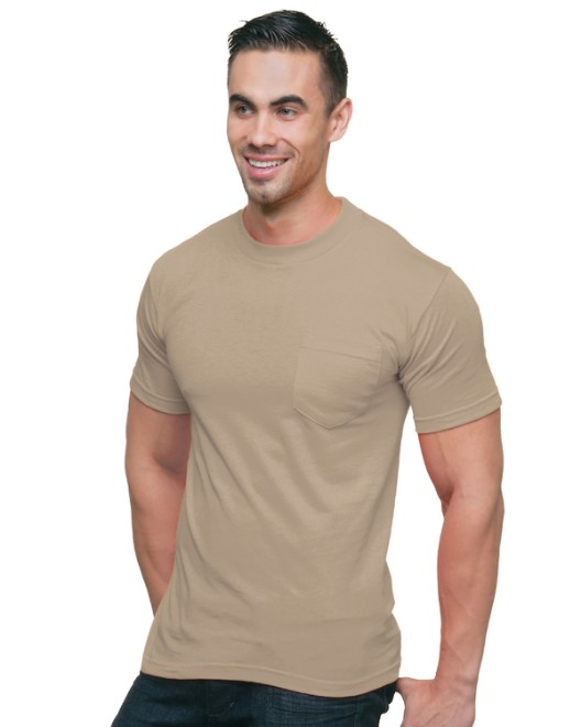 Picture of Bayside BA3015 Adult 6.1 oz., Cotton Pocket T-Shirt