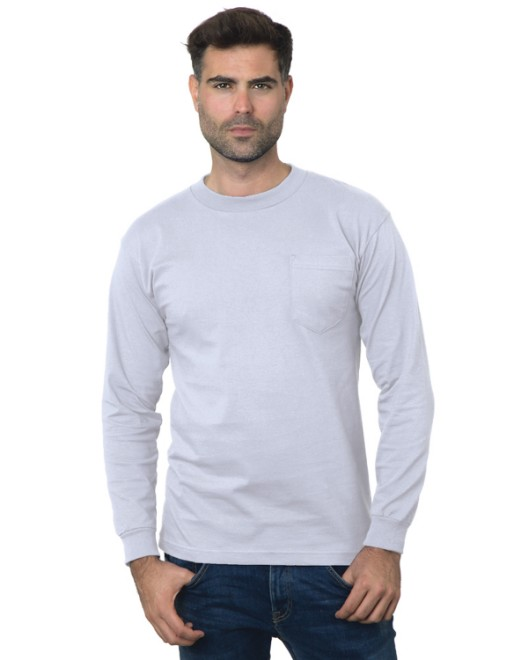 Picture of Bayside BA3055 Unisex Union-Made Long-Sleeve Pocket Crew T-Shirt