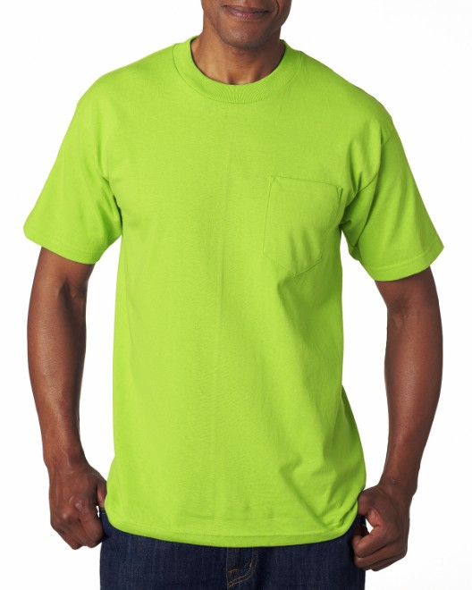 Picture of Bayside BA7100 Adult 6.1 oz., 100% Cotton Pocket T-Shirt