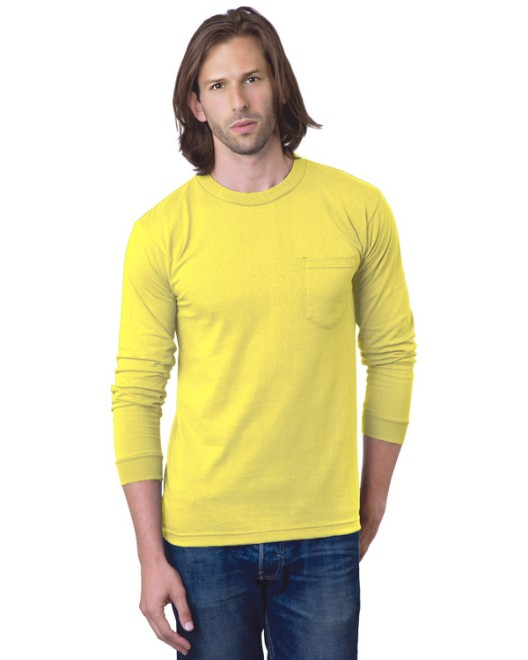 Picture of Bayside BA8100 Adult 6.1 oz., 100% Cotton Long Sleeve Pocket T-Shirt