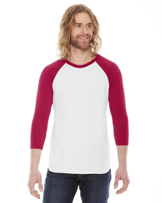 Picture of American Apparel BB453 Unisex Poly-Cotton USA Made 3/4-Sleeve Raglan T-Shirt