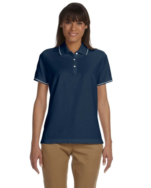 Picture of Devon & Jones D113W Womens Pima Pique Short-Sleeve Tipped Polo