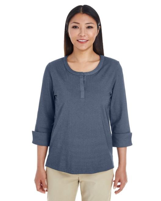 Picture of Devon & Jones DG230W Womens Central Cotton Blend Melange Knit Top