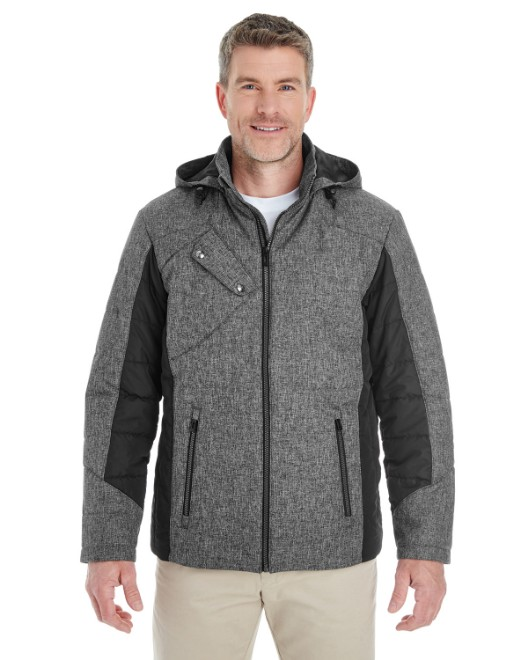 Picture of Devon & Jones DG710 Men's Midtown Insulated Fabric-Block Jacket with Crosshatch Melange