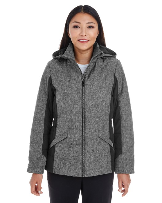 Picture of Devon & Jones DG710W Womens Midtown Insulated Fabric-Block Jacket with Crosshatch Melange