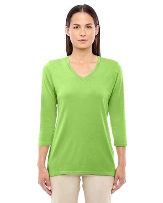 Picture of Devon & Jones DP184W Womens Perfect Fit Bracelet-Length V-Neck Top