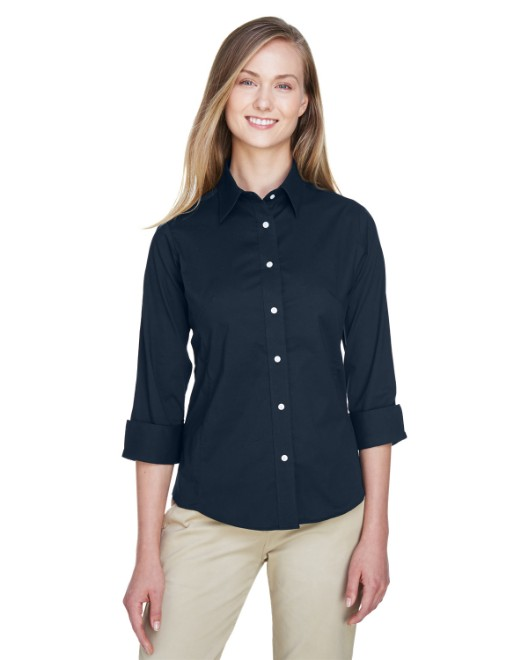 Picture of Devon & Jones DP625W Womens Perfect Fit 3/4-Sleeve Stretch Poplin Blouse