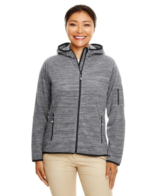 Picture of Devon & Jones DP700W Womens Perfect Fit  Melange Velvet Fleece Hooded Full-Zip