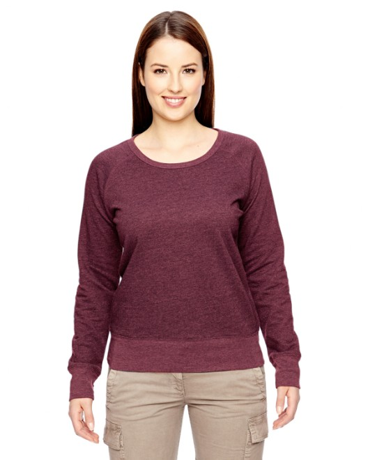 Picture of econscious EC4505 Womens 7 oz. Organic/Recycled Heathered Fleece Raglan Pullover