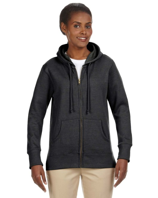 Picture of econscious EC4580 Womens 7 oz. Organic/Recycled Heathered Fleece Full-Zip Hood