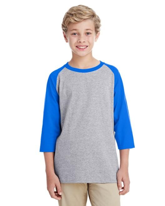 Picture of Gildan G570B Youth 5.3 oz. 3/4-Raglan Sleeve T-Shirt