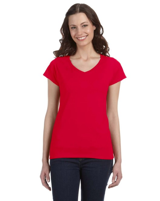 Picture of Gildan G64VL Womens SoftStyle 4.5 oz. Fitted V-Neck T-Shirt