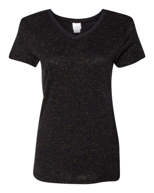 Picture of J America JA8136 Womens Glitter V-Neck T-Shirt