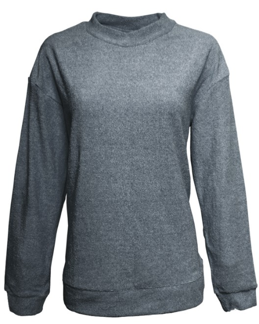 Picture of J America JA8428 Womens Weekend French Terry Mock Neck Crew