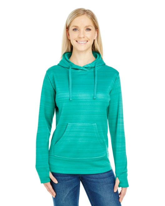 Picture of J America JA8662 Womens Odyssey Striped Poly Fleece Lapover Hood