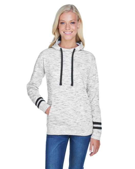 Picture of J America JA8674 Womens Melange Scuba Neck Sweatshirt