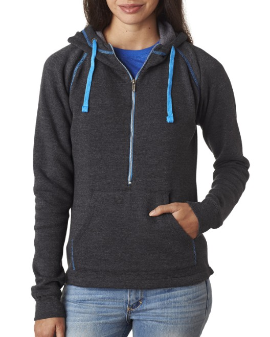 Picture of J America JA8876 Womens Triblend Half-Zip Fleece Hood