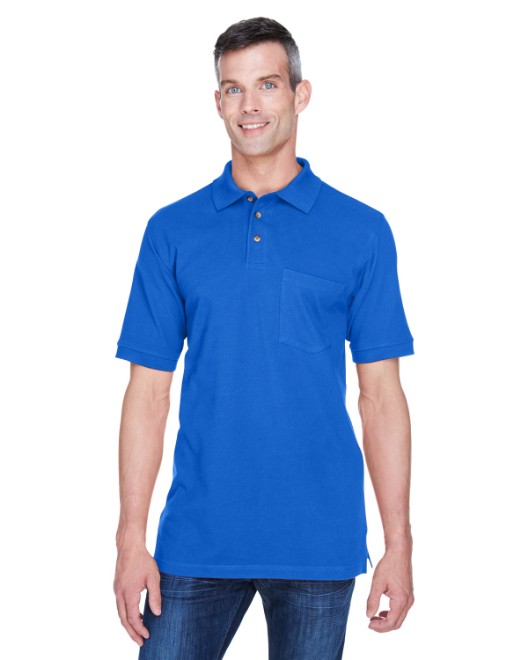 Picture of Harriton M200P Adult 6 oz. Ringspun Cotton Pique Short-Sleeve Pocket Polo