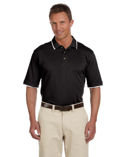 Picture of Harriton M210 Adult 6 oz. Short-Sleeve Pique Polo with Tipping