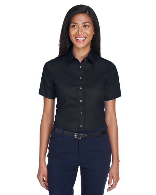 Picture of Harriton M500SW Womens Easy Blend Short-Sleeve Twill Shirt with Stain-Release