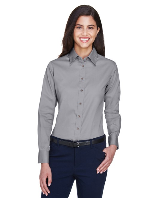 Picture of Harriton M500W Womens Easy Blend Long-Sleeve Twill Shirt with Stain-Release