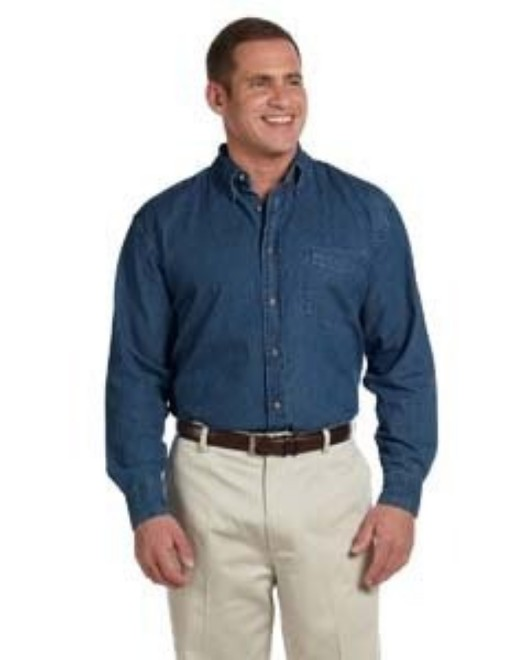 Picture of Harriton M550T Men's Tall 6.5 oz. Long-Sleeve Denim Shirt