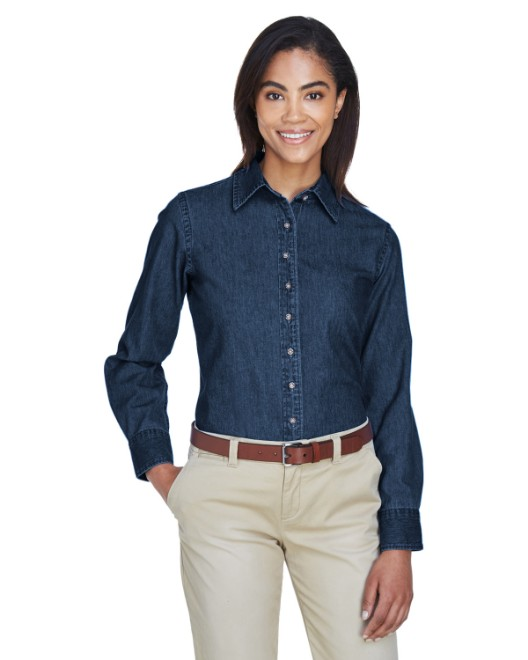 Picture of Harriton M550W Womens 6.5 oz. Long-Sleeve Denim Shirt