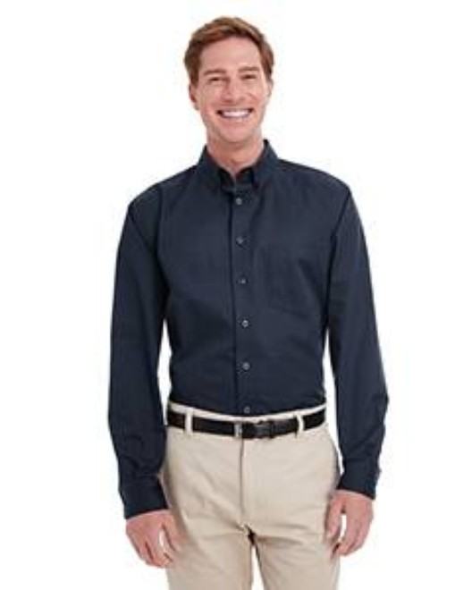 Picture of Harriton M581T Men's  Tall Foundation 100% Cotton Long-Sleeve Twill Shirt with Teflon