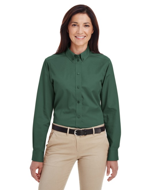 Picture of Harriton M581W Womens Foundation 100% Cotton Long-Sleeve Twill Shirt with Teflon