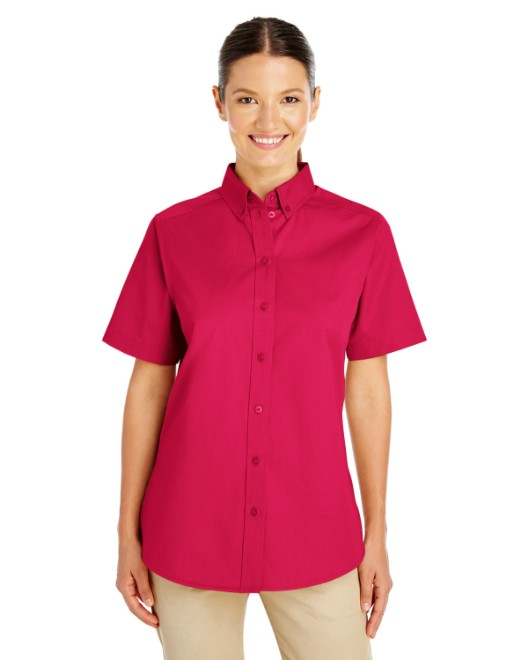 Picture of Harriton M582W Womens Foundation 100% Cotton Short-Sleeve Twill Shirt with Teflon