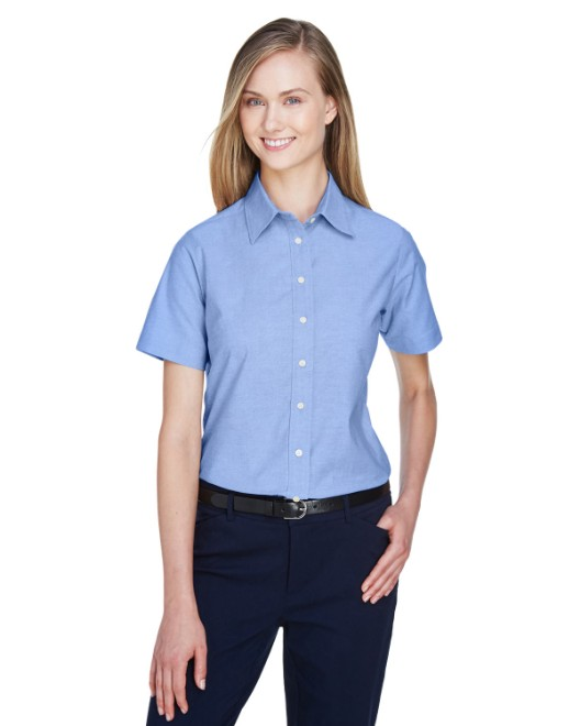 Picture of Harriton M600SW Womens Short-Sleeve Oxford with Stain-Release