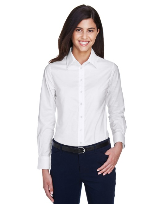 Picture of Harriton M600W Womens Long-Sleeve Oxford with Stain-Release