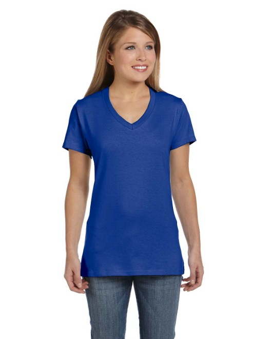 Picture of Hanes S04V Womens 4.5 oz., 100% Ringspun Cotton nano-T V-Neck T-Shirt