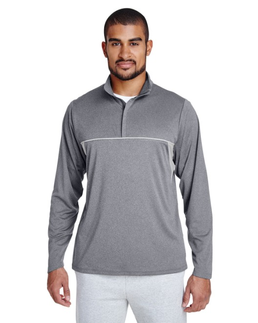 Picture of Team 365 TT26 Men's Excel Melange Interlock Performance Quarter-Zip Top