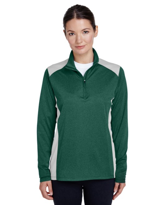 Picture of Team 365 TT26W Womens Excel Melange Interlock Performance Quarter-Zip Top